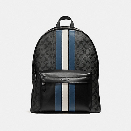 COACH f26066 CHARLES BACKPACK IN SIGNATURE CANVAS WITH VARSITY STRIPE MIDNIGHT NVY/DENIM/CHALK/BLACK ANTIQUE NICKEL