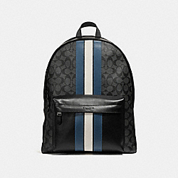 CHARLES BACKPACK IN SIGNATURE CANVAS WITH VARSITY STRIPE - f26066 - MIDNIGHT NVY/DENIM/CHALK/BLACK ANTIQUE NICKEL