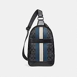 CHARLES PACK IN SIGNATURE CANVAS WITH VARSITY STRIPE - f26067 - MIDNIGHT NVY/DENIM/CHALK/BLACK ANTIQUE NICKEL