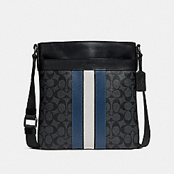 CHARLES CROSSBODY IN SIGNATURE CANVAS WITH VARSITY STRIPE - f26068 - MIDNIGHT NVY/DENIM/CHALK/BLACK ANTIQUE NICKEL
