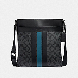 COACH F26068 - CHARLES CROSSBODY IN SIGNATURE CANVAS WITH VARSITY STRIPE BLACK BLACK MINERAL/BLACK ANTIQUE NICKEL