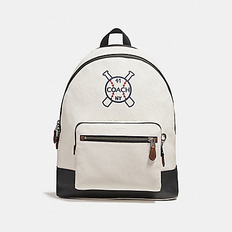 COACH f26075 WEST BACKPACK WITH BASEBALL AND BATS MOTIF<br>蔻驰西方背包棒球和蝙蝠母题 粉笔黑黑古董镍
