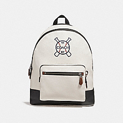 COACH F26075 - WEST BACKPACK WITH BASEBALL AND BATS MOTIF CHALK/BLACK/BLACK ANTIQUE NICKEL