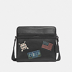 CHARLES CAMERA BAG WITH AMERICAN DREAMING PATCHES - f26079 - ANTIQUE NICKEL/BLACK