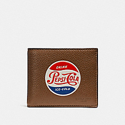 3-IN-1 WALLET WITH PEPSI® MOTIF - f26085 - SADDLE