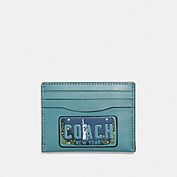COACH F26086 Slim Card Case With License Plate SLATE