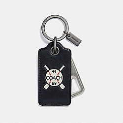 COACH AMERICAN DREAMING BOTTLE OPENER KEY FOB - BLACK - F26097