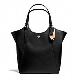 PEYTON LEATHER TOTE - f26103 - SILVER/BLACK