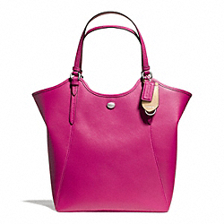 PEYTON LEATHER TOTE - f26103 - SILVER/BRIGHT MAGENTA