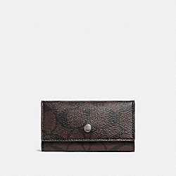 FOUR RING KEY CASE - f26104 - MAHOGANY/BROWN