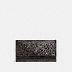 COACH F26104 - FOUR RING KEY CASE IN SIGNATURE CANVAS MAHOGANY/BLACK/BLACK ANTIQUE NICKEL