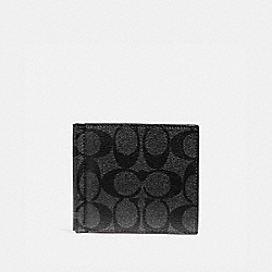 COACH F26106 - MONEY CLIP BILLFOLD IN SIGNATURE CANVAS CHARCOAL/BLACK