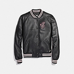 LEATHER VARSITY JACKET - f26108 - BLACK