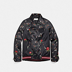 COACH F26109 - CROSS STITCH FLORAL SOUVENIR JACKET BLACK MULTI