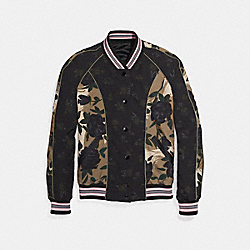 COACH F26110 Camo Rose Reversible Varsity Jacket BLACK