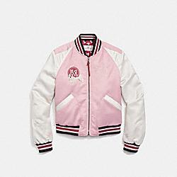 COACH F26116 Cropped Baseball Souvenir Jacket PRAIRIE PINK/CHALK