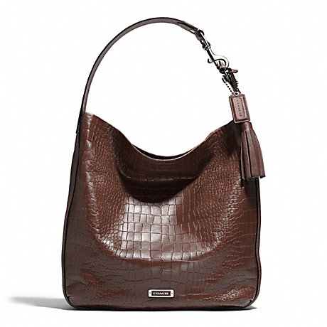 COACH F26122 AVERY EMBOSSED CROC HOBO SILVER/FIG