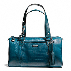 AVERY EMBOSSED CROC LARGE SATCHEL - f26123 - SILVER/PEACOCK