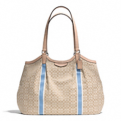 COACH F26131 Signature Stripe 6cm Devin Shoulder Bag SILVER/LIGHT KHAKI/CORNFLOWER