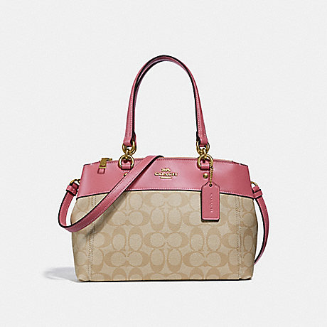 COACH F26139 MINI BROOKE CARRYALL IN SIGNATURE CANVAS LIGHT-KHAKI/PEONY/LIGHT-GOLD