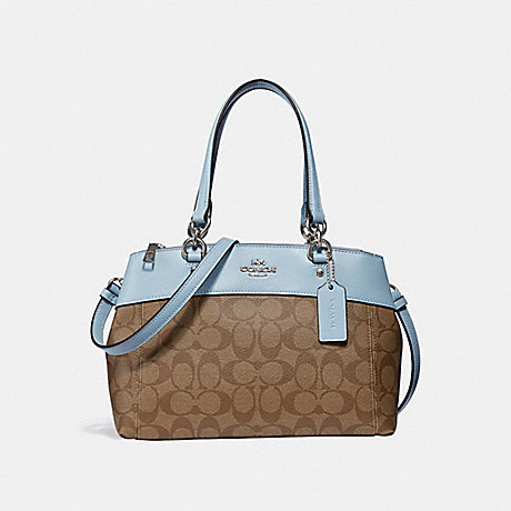 COACH F26139 MINI BROOKE CARRYALL IN SIGNATURE CANVAS KHAKI/PALE-BLUE/SILVER