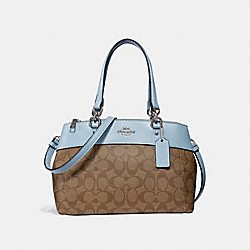 MINI BROOKE CARRYALL IN SIGNATURE CANVAS - f26139 - khaki/pale blue/silver