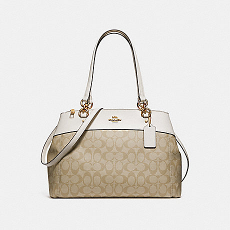 COACH F26140 LARGE BROOKE CARRYALL IN SIGNATURE CANVAS LIGHT-KHAKI/CHALK/LIGHT-GOLD