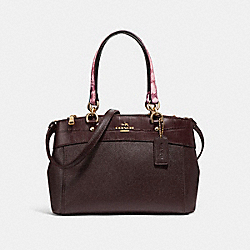 MINI BROOKE CARRYALL - f26143 - LIGHT GOLD/OXBLOOD MULTI