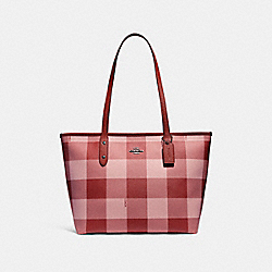 COACH F26147 City Zip Tote With Buffalo Plaid Print BLUSH MULTI/BLACK ANTIQUE NICKEL