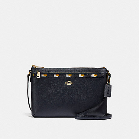 COACH f26149 EAST/WEST CROSSBODY WITH POP-UP POUCH WITH CHECKER HEART PRINT MIDNIGHT MULTI/LIGHT GOLD