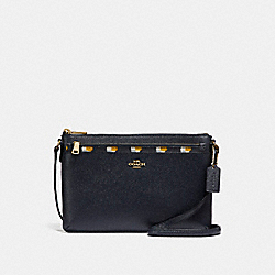 COACH EAST/WEST CROSSBODY WITH POP-UP POUCH WITH CHECKER HEART PRINT - MIDNIGHT MULTI/LIGHT GOLD - F26149