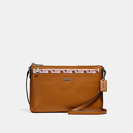 COACH f26149 EAST/WEST CROSSBODY WITH POP-UP POUCH WITH CHECKER HEART PRINT<br>蔻驰EAST/WEST论与弹袋和检查心脏印 银脸红多