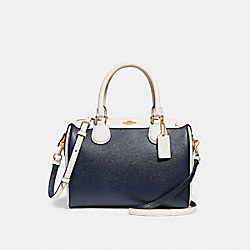 MINI BENNETT SATCHEL IN COLORBLOCK - f26153 - MIDNIGHT/CHALK/Light Gold