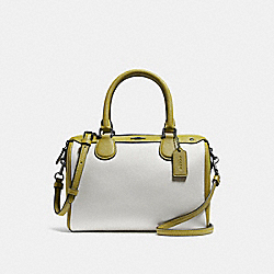 MINI BENNETT SATCHEL IN COLORBLOCK - f26153 - CHALK/CHARTREUSE/BLACK ANTIQUE NICKEL