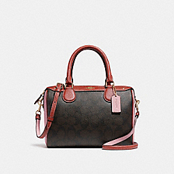 MINI BENNETT SATCHEL IN COLORBLOCK SIGNATURE CANVAS - f26154 - BROWN/BLUSH TERRACOTTA/LIGHT GOLD