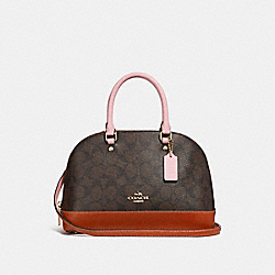 MINI SIERRA SATCHEL IN COLORBLOCK SIGNATURE CANVAS - f26155 - BROWN/BLUSH TERRACOTTA/LIGHT GOLD