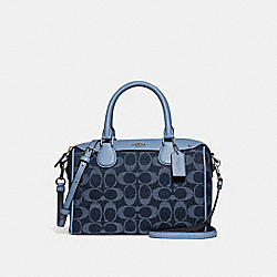 MINI BENNETT SATCHEL IN SIGNATURE DENIM - F26164 - DENIM/SILVER