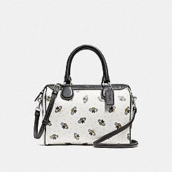 COACH F26167 Mini Bennett Satchel With Bee Print CHALK MULTI/SILVER