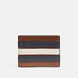 SLIM BILLFOLD WALLET WITH VARSITY STRIPE - f26171 - SADDLE/MIDNIGHT NVY/CHALK