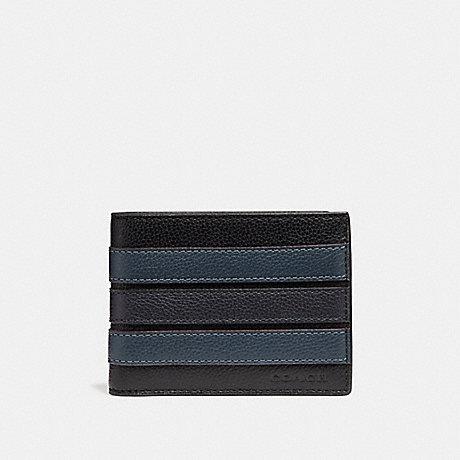 COACH SLIM BILLFOLD WALLET WITH VARSITY STRIPE - BLACK/DENIM/MIDNIGHT NVY - F26171