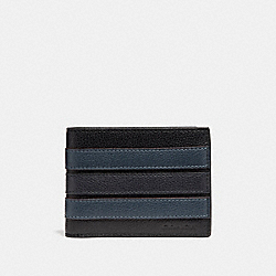 COACH F26171 Slim Billfold Wallet With Varsity Stripe BLACK/DENIM/MIDNIGHT NVY