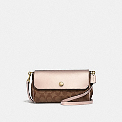 COACH F26172 Reversible Crossbody In Signature Canvas KHAKI/PLATINUM/LIGHT GOLD