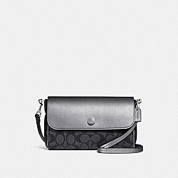 COACH F26172 - REVERSIBLE CROSSBODY IN SIGNATURE CANVAS BLACK SMOKE/GRAPHITE/SILVER