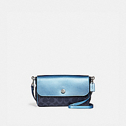 COACH F26172 Reversible Crossbody In Signature Canvas DENIM/METALLIC POOL/SILVER