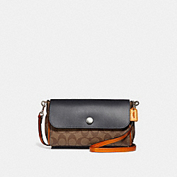 COACH F26172 Reversible Crossbody In Signature Canvas KHAKI/METALLIC TANGERINE/SILVER