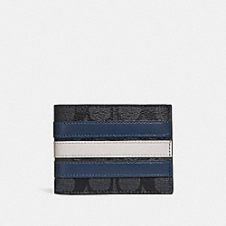 SLIM BILLFOLD WALLET IN SIGNATURE CANVAS WITH VARSITY STRIPE - f26173 - MIDNIGHT NVY/DENIM/CHALK