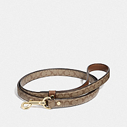 COACH F26176 Small Pet Leash In Signature Crossgrain Leather GOLD/KHAKI SADDLE