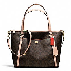 COACH F26186 - PEYTON SIGNATURE POCKET TOTE BRASS/BROWN/TAN