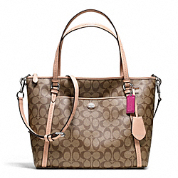 COACH F26186 Peyton Pocket Tote In Signature Coated Canvas  SILVER/KHAKI/TAN