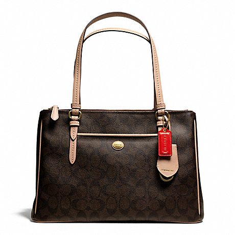 COACH f26187 PEYTON SIGNATURE JORDAN DOUBLE ZIP CARRYALL